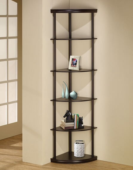 "6 tiered pie shaped corner shelf unit in an espresso finish wood .  measures 16"" x 16"" x 72""h."