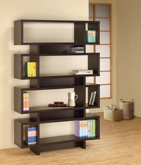 800307 Stacked rectangles modern design room divider espresso finish wood modern styling slim line bookcase shelf unit