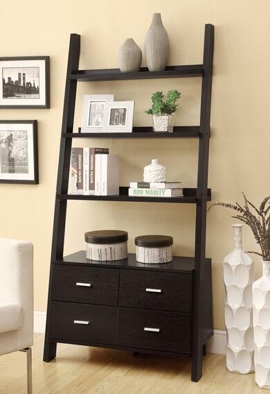 Leaning ladder style espresso finish wood modern styling slim line bookcase shelf unit with drawers