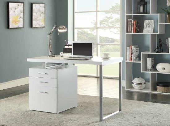 800325 Orren ellis tanguay silver finish metal frame and white wood finish top computer student desk with 3 drawer cabinet