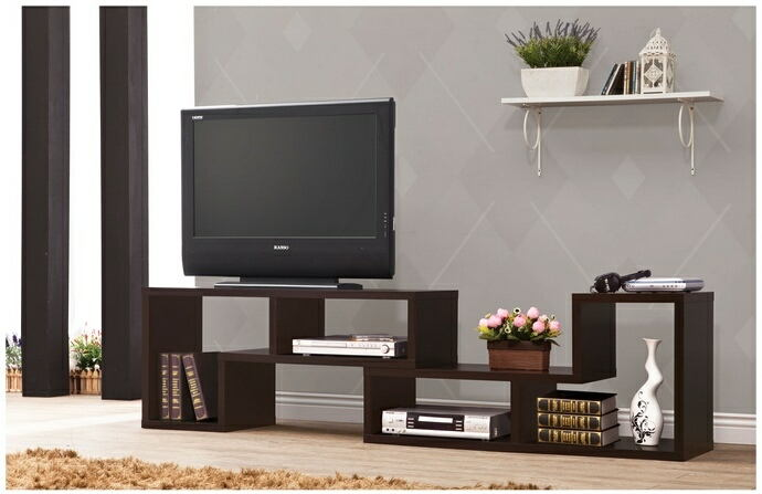Espresso finish wood modern contemporary style expandable tv stand / bookcase