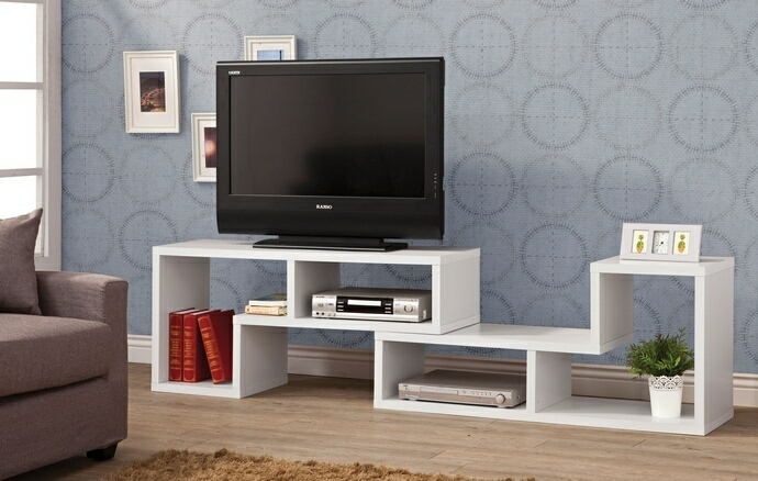 White finish wood modern contemporary style expandable tv stand / bookcase