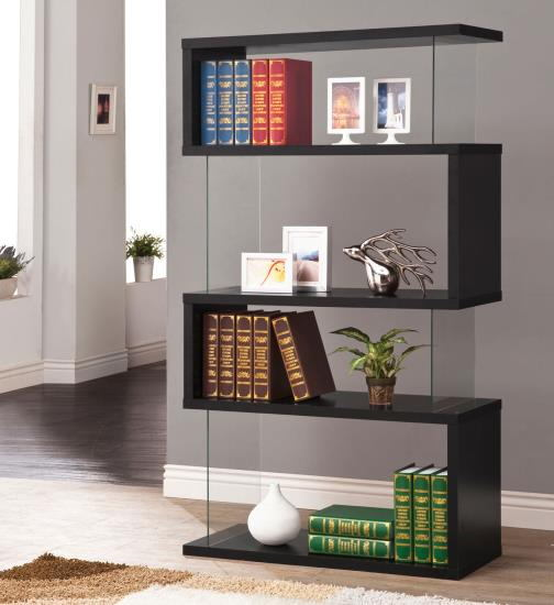 800340 Bronx ivy mcateer black finish wood and glass 4 tier bookshelf with alternating glass and wood ends