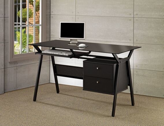 Black powder coated finish metal frame and glass top computer desk with slide out keyboard tray and storage drawers