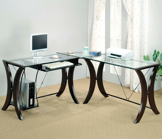 800446 Borovy monterey L shaped corner student computer desk with glass top and espresso finish frame