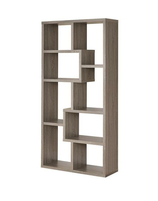 Weathered grey finish wood multi tier bookshelf with alternating size shelves