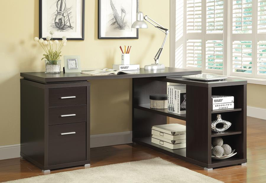 800517 Huntleys wila arlo interiors espresso finish wood l shaped reversible set up computer desk with drawers and shelves