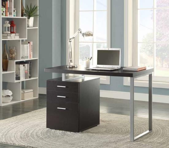 Silver finish metal frame and black wood finish top computer student desk with 3 drawer cabinet