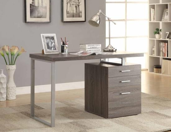 Silver finish metal frame and weathered grey wood finish top computer student desk with 3 drawer cabinet