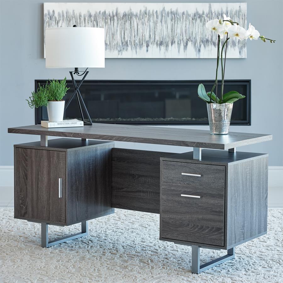 800521 Orren ellis onancock lawtey weathered grey finish wood silver metal frame office desk
