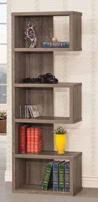 5 tier weathered grey finish wood alternating shelves bookshelf wall unit