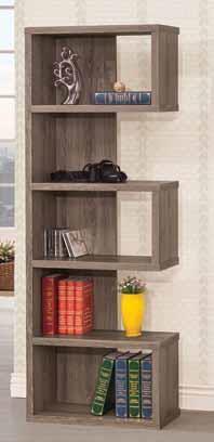 5 tier weathered grey finish wood alternating shelves bookshelf wall unit