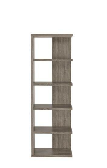 800553A 5 tier off set look shelves weathered grey finish wood bookcase shelf unit