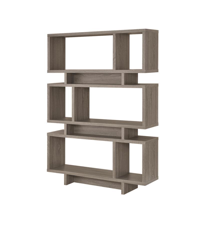 800554 Orren ellis halverson wilmington cabin weathered grey finish wood multi level book case