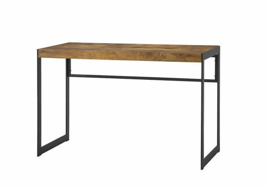 800655 Union rustic roybal estrella antique nutmeg finish wood with gunmetal finish metal frame writing desk