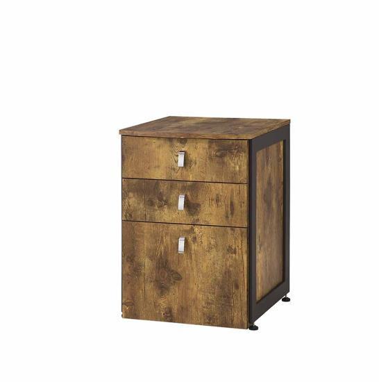Estrella collection antique nutmeg finish wood with gunmetal finish metal frame filing cabinet