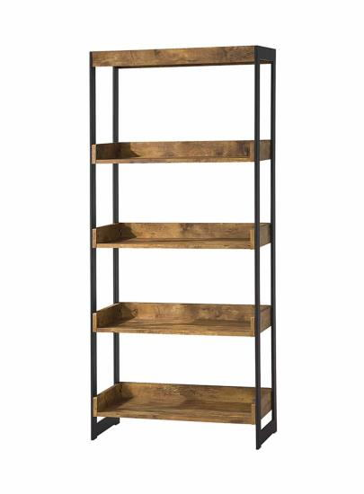 800657 Estrella antique nutmeg finish wood with gunmetal finish metal frame 5 tier shelf