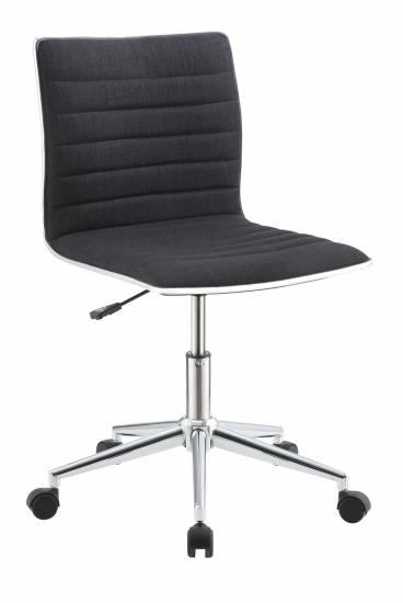 800725 Orren ellis hedge ribbed seat and back black fabric office chair with casters
