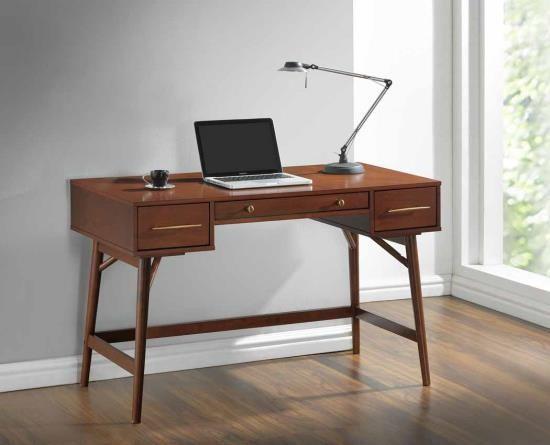Walnut finish wood 3 drawer writing student desk with round legs