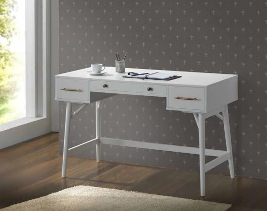 White finish wood 3 drawer writing student desk with round legs