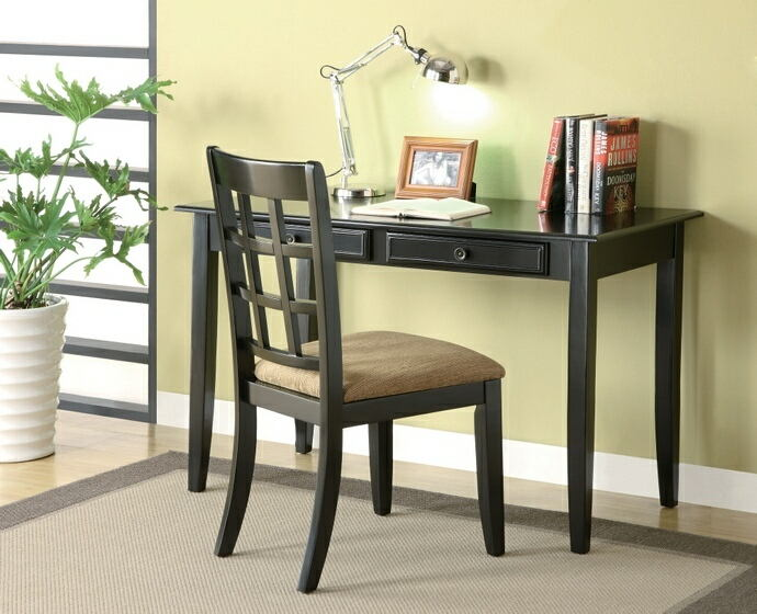 2 pc black finish wood desk and chair with drawers