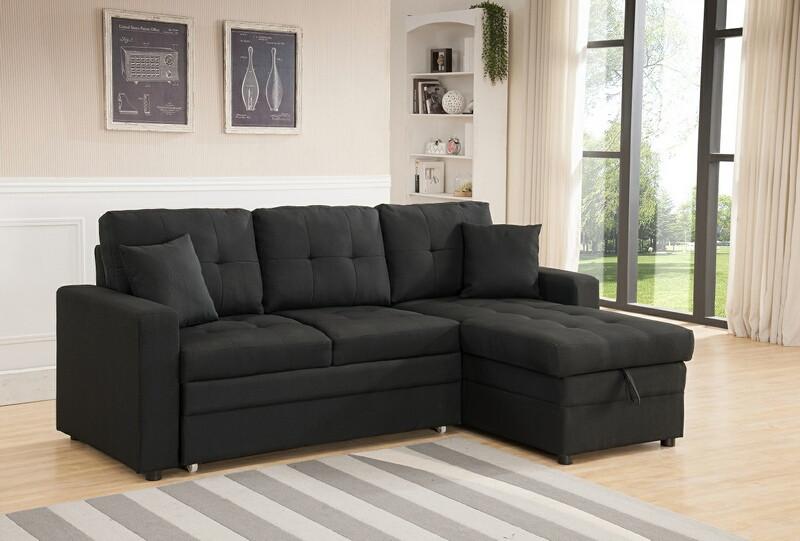 8008-BK 2 pc Latitude Run Reider black linen like fabric sectional sofa set pull out sleep area reversible chaise