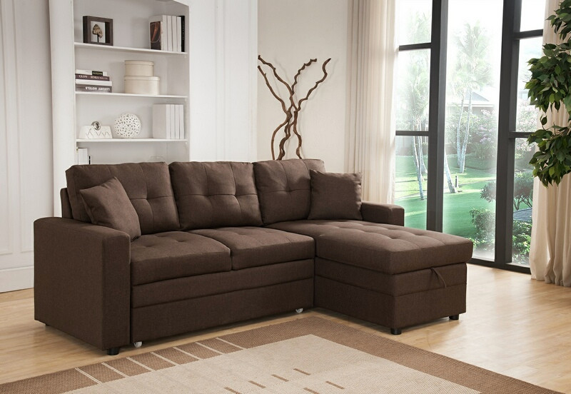 8008-BR 2 pc Latitude Run Reider brown linen like fabric sectional sofa set pull out sleep area reversible chaise