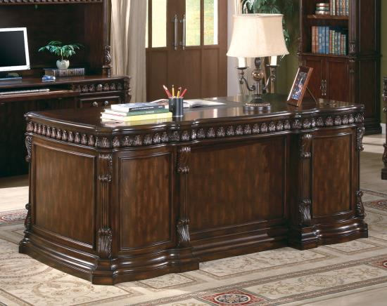 Tucker collection traditional style rich brown finish wood office desk