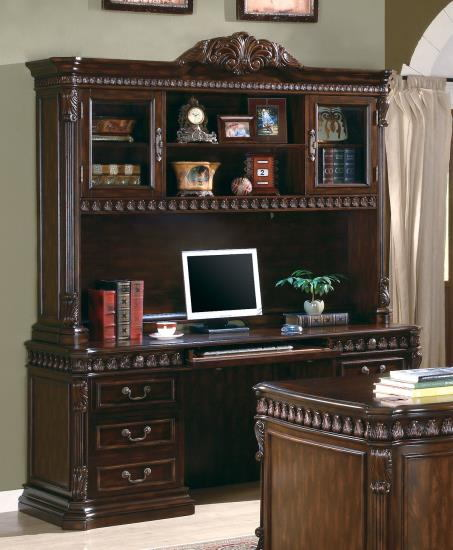 800801H-B Tucker traditional style rich brown finish wood office credenza desk and hutch