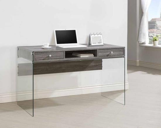800818 Wade logan eliana dobrev weathered grey finish wood and tempered glass legs writing desk