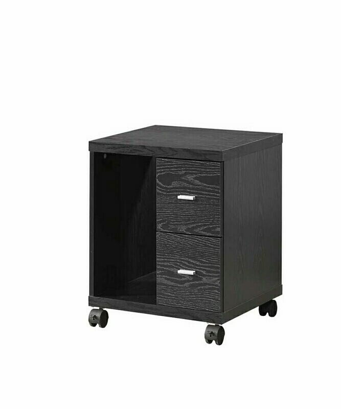 800822 Black finish wood office computer rolling CPU stand with drawers