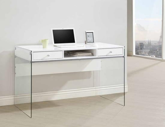 Frisco ii collection white finish wood and tempered glass legs writing desk