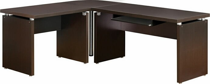 "3 pc espresso wood finish ""l"" shaped reversible corner desk with slide out keyboard drawer"