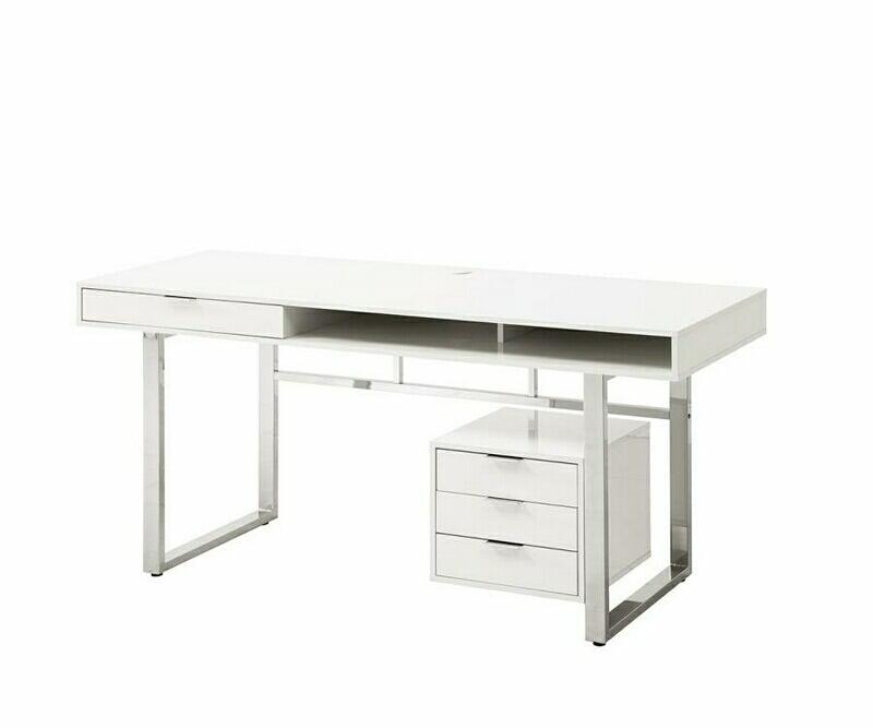 800897 Brayden studio ziemer whitman modern glossy white finish wood office desk with drawer unit