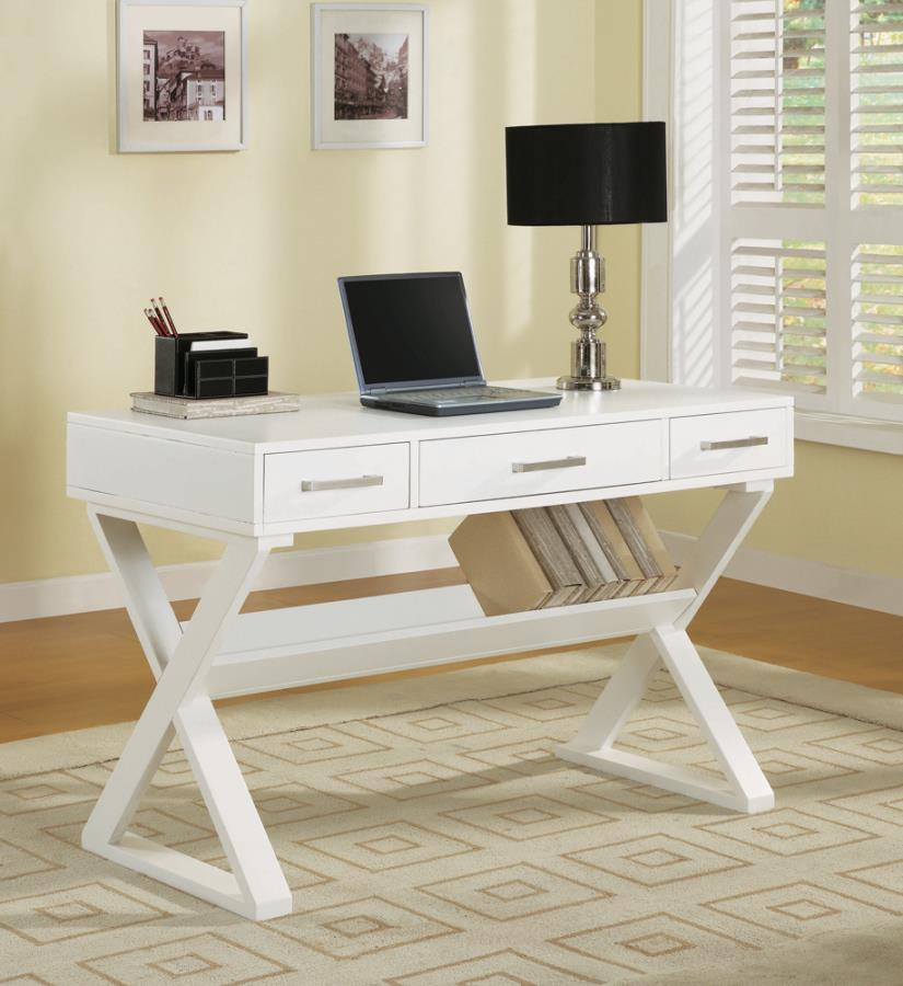 800912 Red barrel studio krista white finish wood office desk with cross leg base and 3 drawers