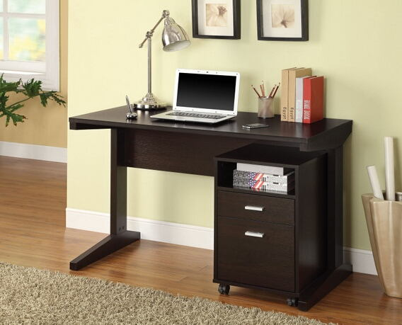 2 pc espresso finish wood computer desk and file cabinet with casters