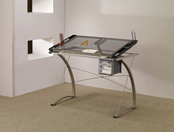 Dark grey finish metal frame with tempered glass top drafting table tilt up surface desk