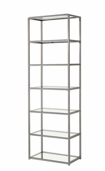 801017 6 tier nickel finish metal frame and glass shelves book case