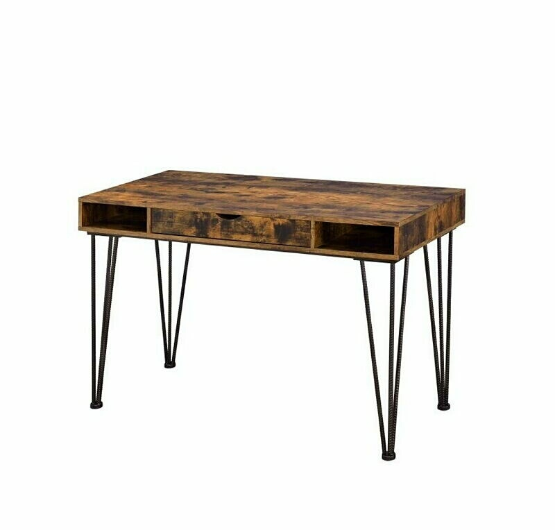 801038 Antique nutmeg finish wood and dark bronze finish metal legs office writing desk