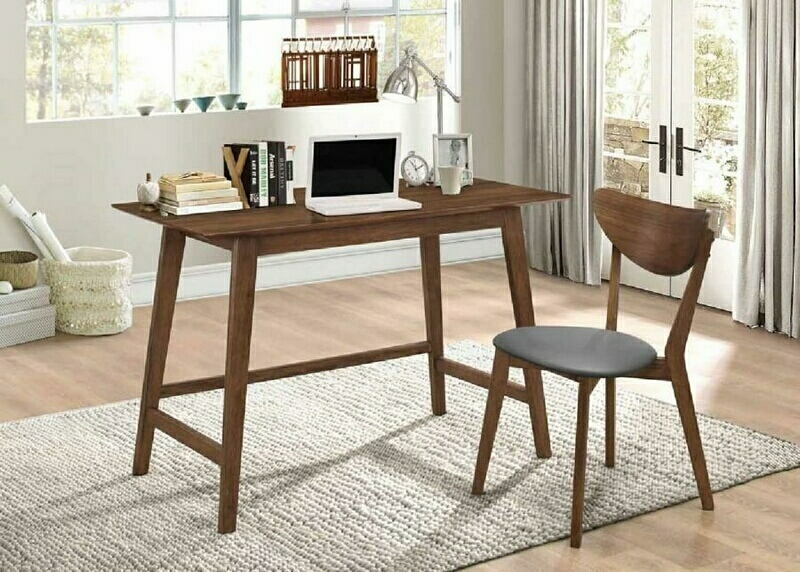 801095 2 pc George oliver burkhalter karri mid century walnut finish wood desk and chair