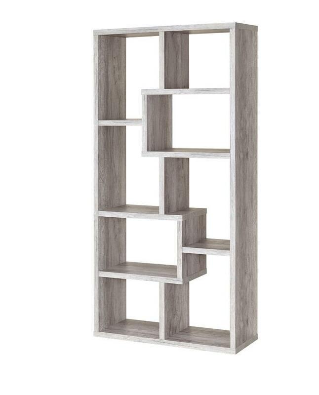 801137 Wrought studio skaggs grey driftwood finish wood multi tier bookshelf with alternating size shelves
