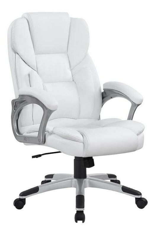 801140 Brandon II tufted back white faux leather office chair with casters