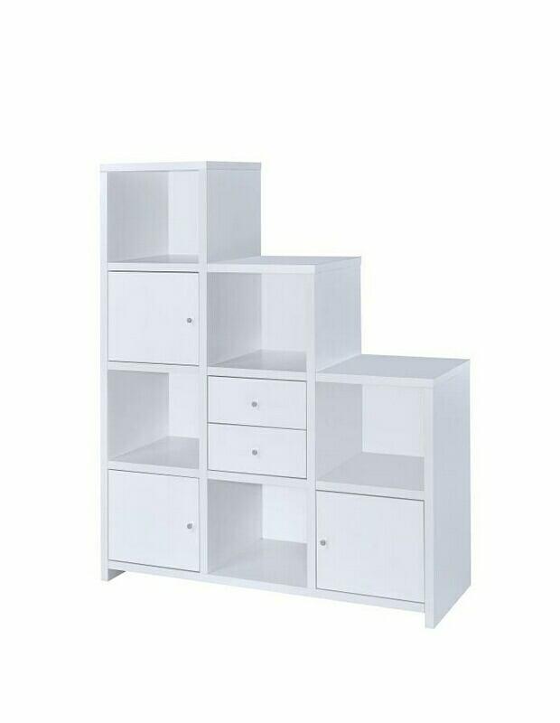 801169 AMB Home 3 level white finish wood cubicle style bookshelf