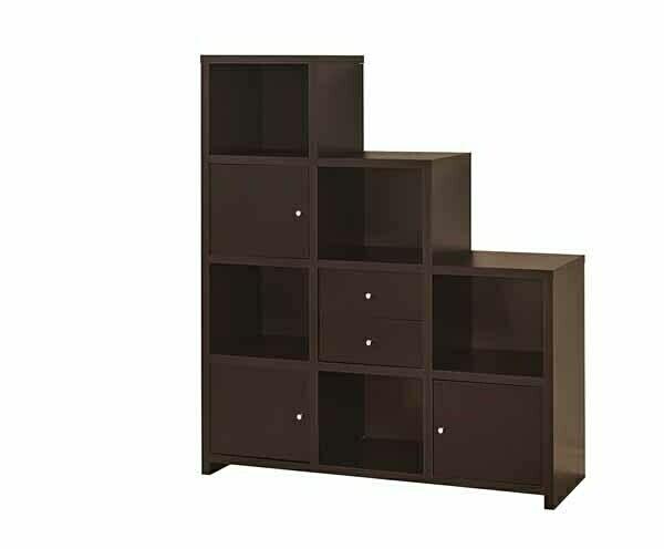 801170 AMB Home 3 level espresso finish wood cubicle style bookshelf
