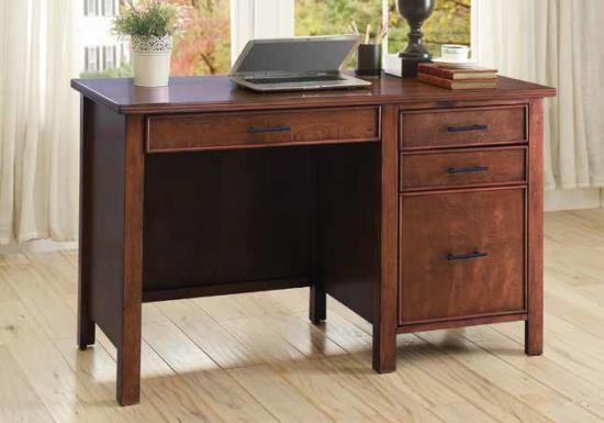 Secretary ii collection red brown finish wood transitional style desk with drawers