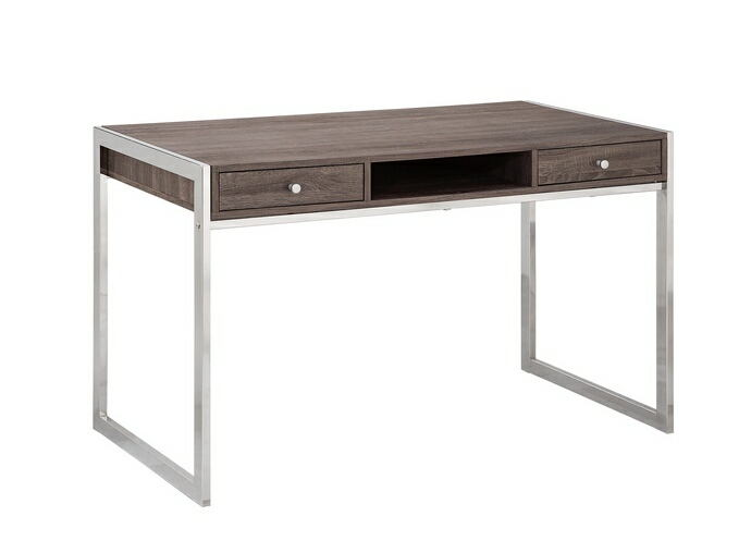 Weathered grey finish wood and chrome finish metal legs office writing desk with drawers