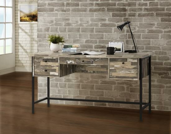 Wilmington cabin collection salvaged cabin finish wood office desk with drawers and black metal finish frame
