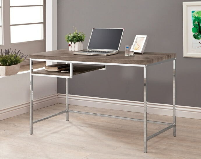 801271 Bronx ivy vena weathered grey finish wood and chrome finish metal legs office writing desk with shelf