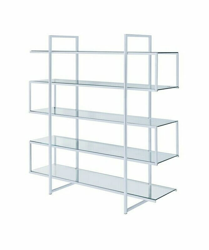 801304 Frisco five tier clear glass and chrome metal frame bookcase shelf