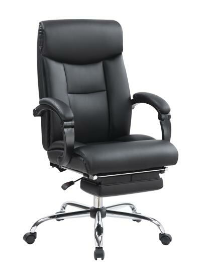 Carrington collection black leatherette upholstered modern style reclining office chair with fold out foot rest